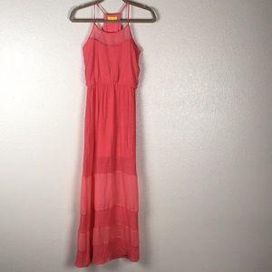 Anthro Dee Elle Peach Sleeveless Maxi Dress